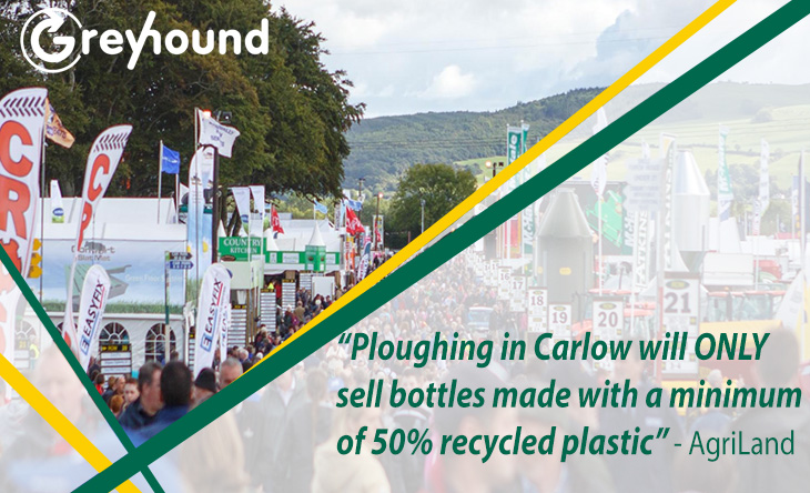 Ploughing in Carlow will ONLY sell bottles made with a minimum of 50% recycled plastic