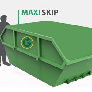 14 yard skip, Maxi Skip sizing beside a man