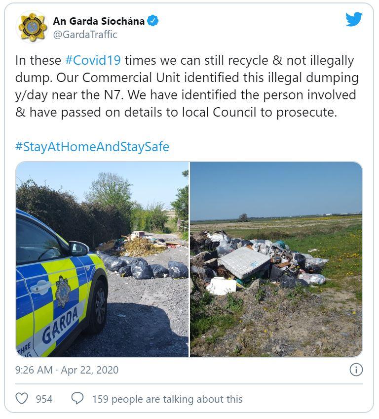 Garda Tweet on covid 19 coronavirus dumping