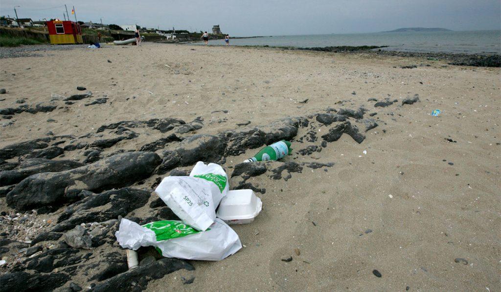Discarded litter on Portmarnock Beach