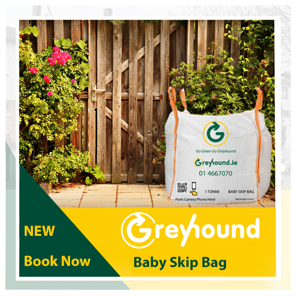 Greyhound Recycling Skip Bag in a garden