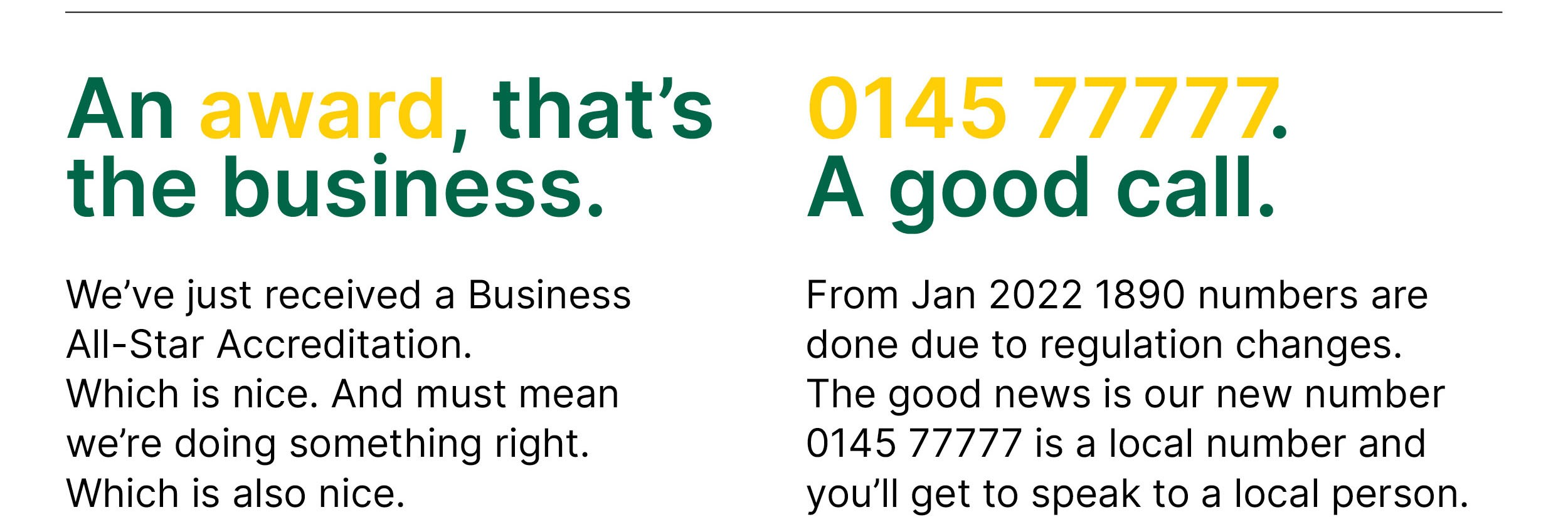 Information on a business award and an update to 1890 phone numbers